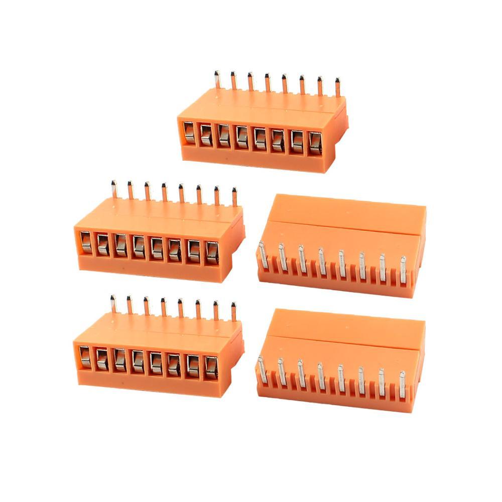 5 Set Orange 8 Pin 3.96Mm Single Row Screw Pluggable Terminal Block Right Angle Connector 300V 10A 5 set orange 8 pin 3 96mm single row screw pluggable terminal block right angle connector 300v 10a