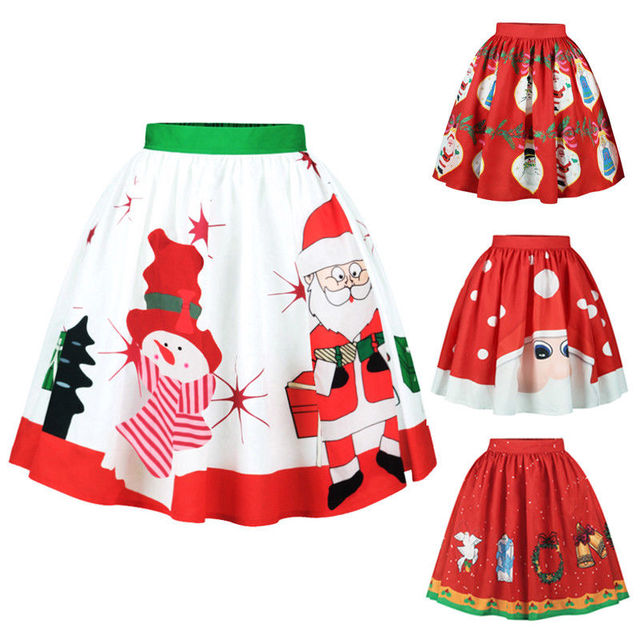 f39623a328df9 US $5.79 |Women High Waist Short Skirt Christmas Xmas Santa Claus Elk Deer  Print Skirts Festival Clothes S M L XL-in Skirts from Women's Clothing on  ...