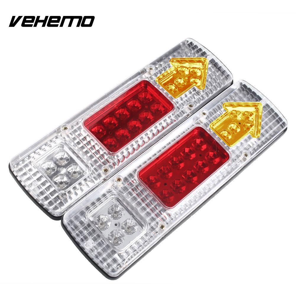 Vehemo 2x 12V 19 LED Truck Trailer Caravan Van Rear Tail Stop Reverse Light Indicator Waterproof Lamp Energy Saving Auto Part vehemo vehemo 10 30v 4 led tail number license plate light lamp truck trailer waterproof