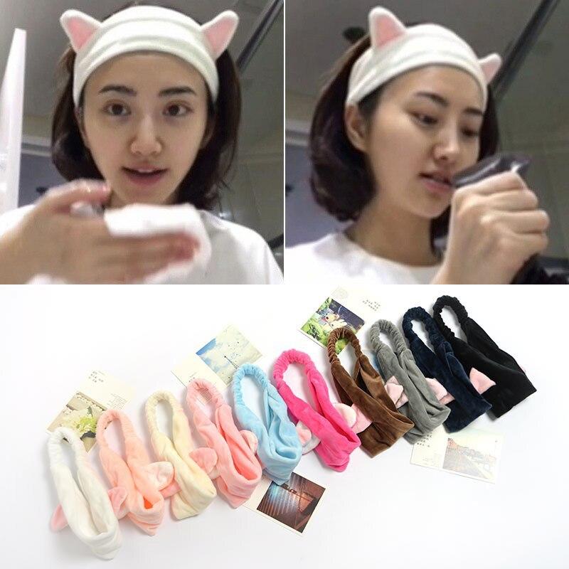 Lovely Cat Ears Headband Women Wash Face Facial Mask Make-up Bundle Headdress Elastic Hair Band Bath Accessories Girls   Headwear