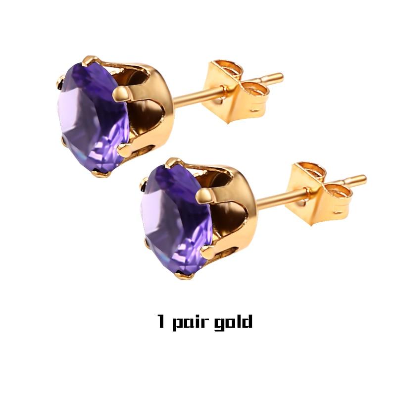 1Pair Purple Gold