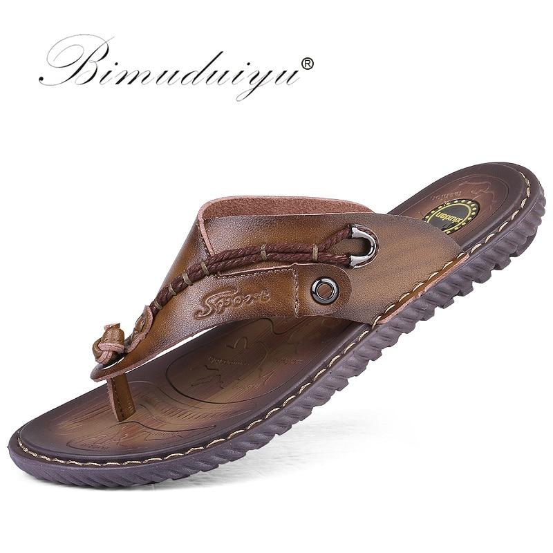 BIMUDUIYU Flip Flops de brand de lux Soft confortabile din piele din - Pantofi bărbați - Fotografie 5