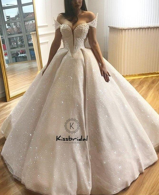 Luxury Ball Gown Wedding Dresess 2018 Sexy Off-the-Shoulder Swertheart Neckline Bride Dress vestido novia