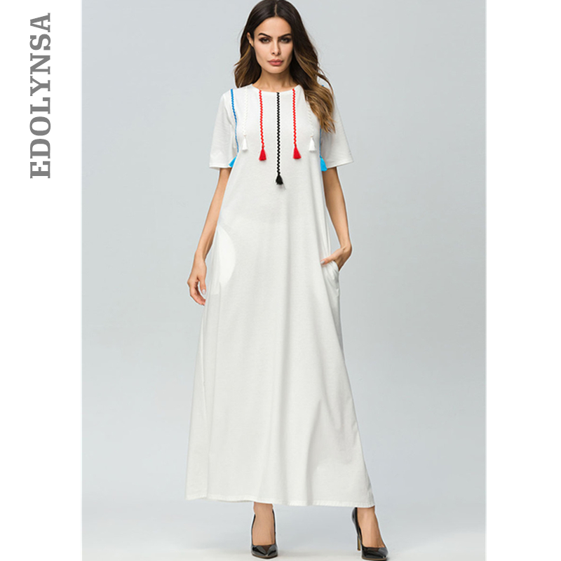 Ivory White Moroccan Kaftan Multicolor Tessel Short Sleeve Summer Casual  Cotton Dress Plus Size Street Wear deb8fb481