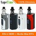Original wismec rx2/3 vaping kit 200 w & augvape merlin mini rta 2 ml vaporizador 200 W CAJA MOD e-cig vs Sólo RX23 RX23 TC TC MOD