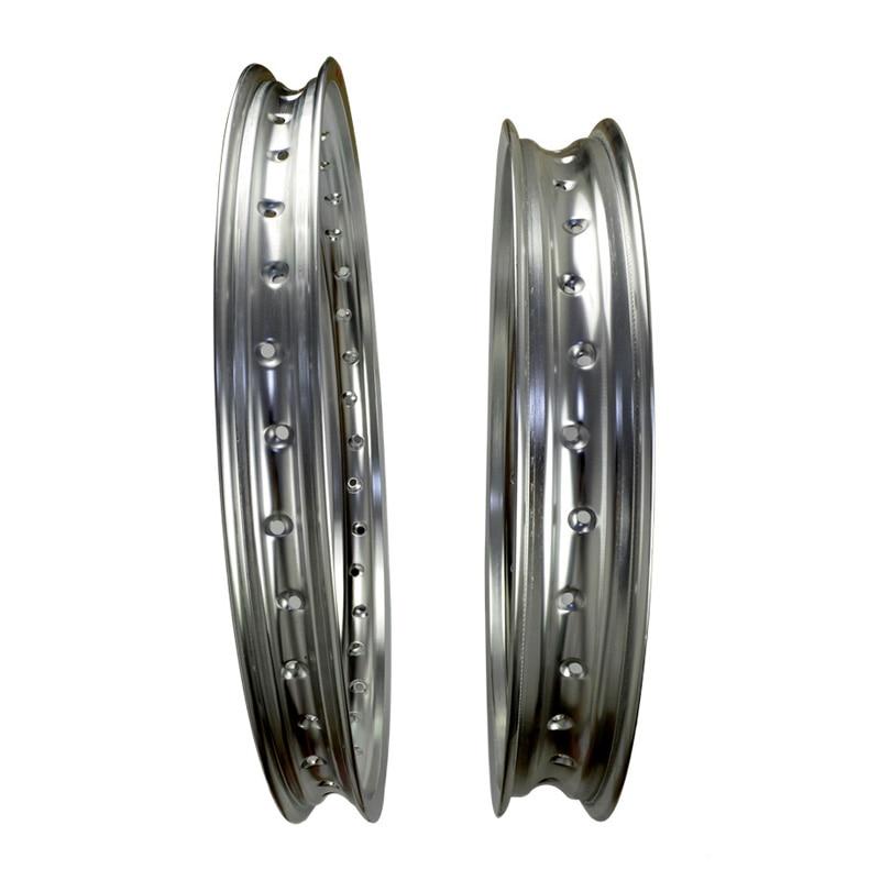 Jante de roue en aluminium haute résistance | Jantes avant et arrière 6061 argent pour moto daviation cercle de roues 2.15x19 et 1.60x21 à 36 rayons, jante argentée de haute résistance