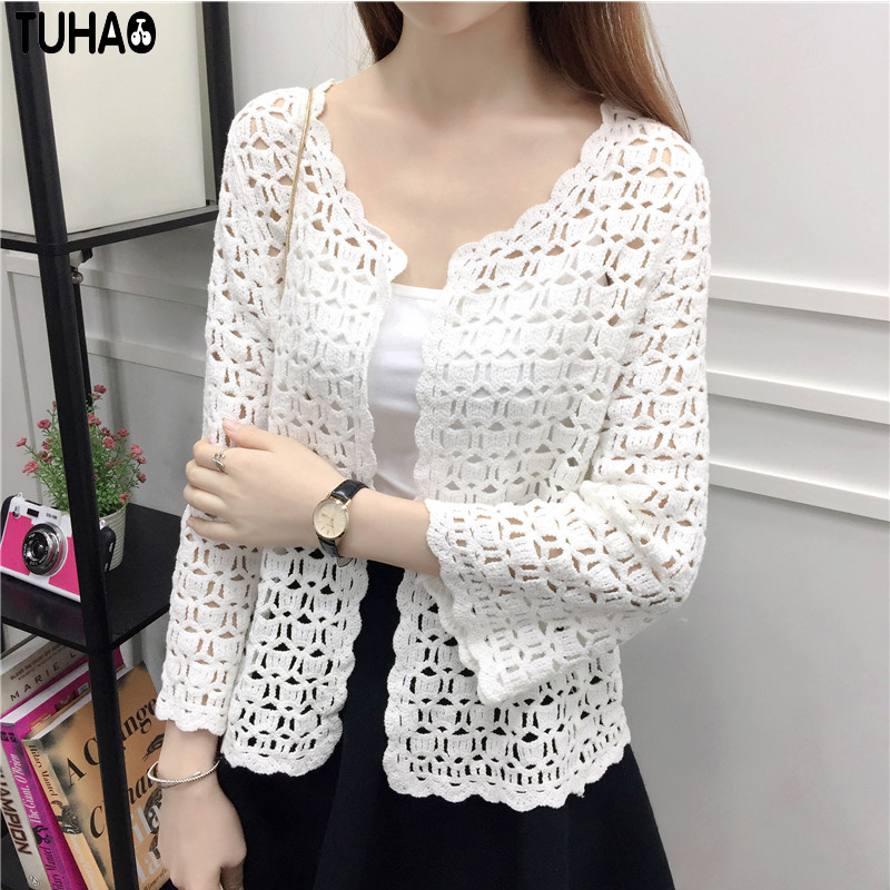 Spring Summer White   Blouses   Hollow Out Knitted Kimono Cardigan   Blouses     Shirts   Vintage Sexy Leisure   Blouse   Women   Shirts   Top RG63