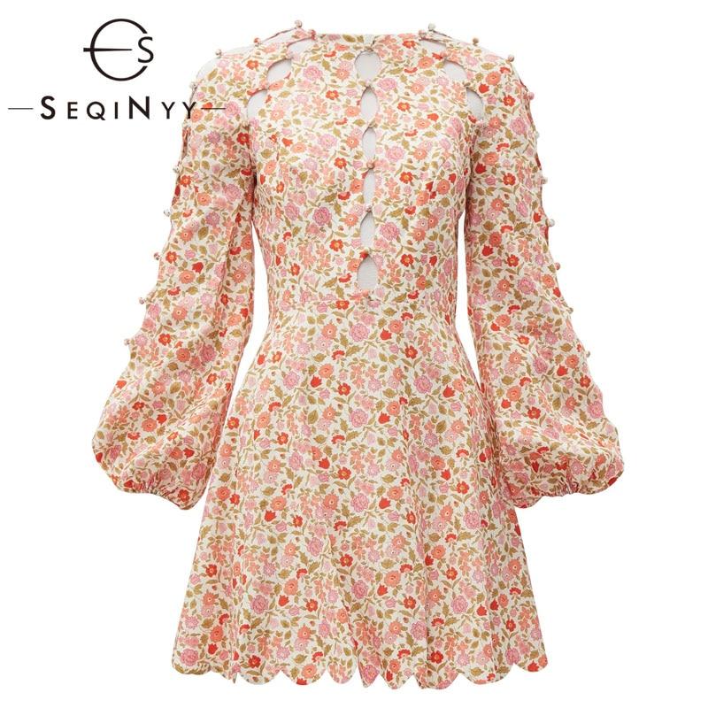 Seqinyy 리넨 드레스 2020 여름 봄 새로운 패션 디자인 랜턴 슬리브 중공 버튼 꽃 인쇄 달콤한 미니 드레스-에서드레스부터 여성 의류 의  그룹 1