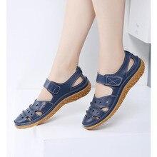 Sandálias femininas 2019 verão novo couro artesanal sapatos de senhoras sandálias de couro sandálias femininas plana estilo retro mãe sapatos