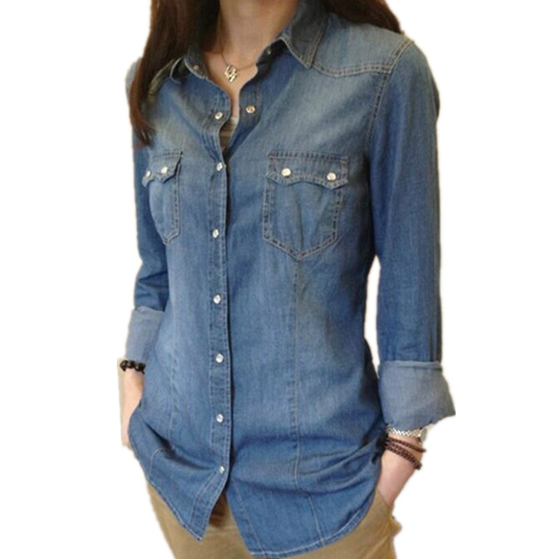 Womens Chambray Shirt Top denim Shirts and font b Blouses b font Long Sleeve Snap Button
