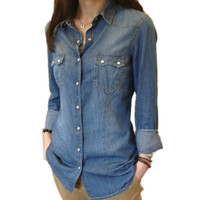 Western Womens Chambray Shirt Washed Denim Shirts Long Sleeve Classic Collar Snap Button Pocket Cotton Summer