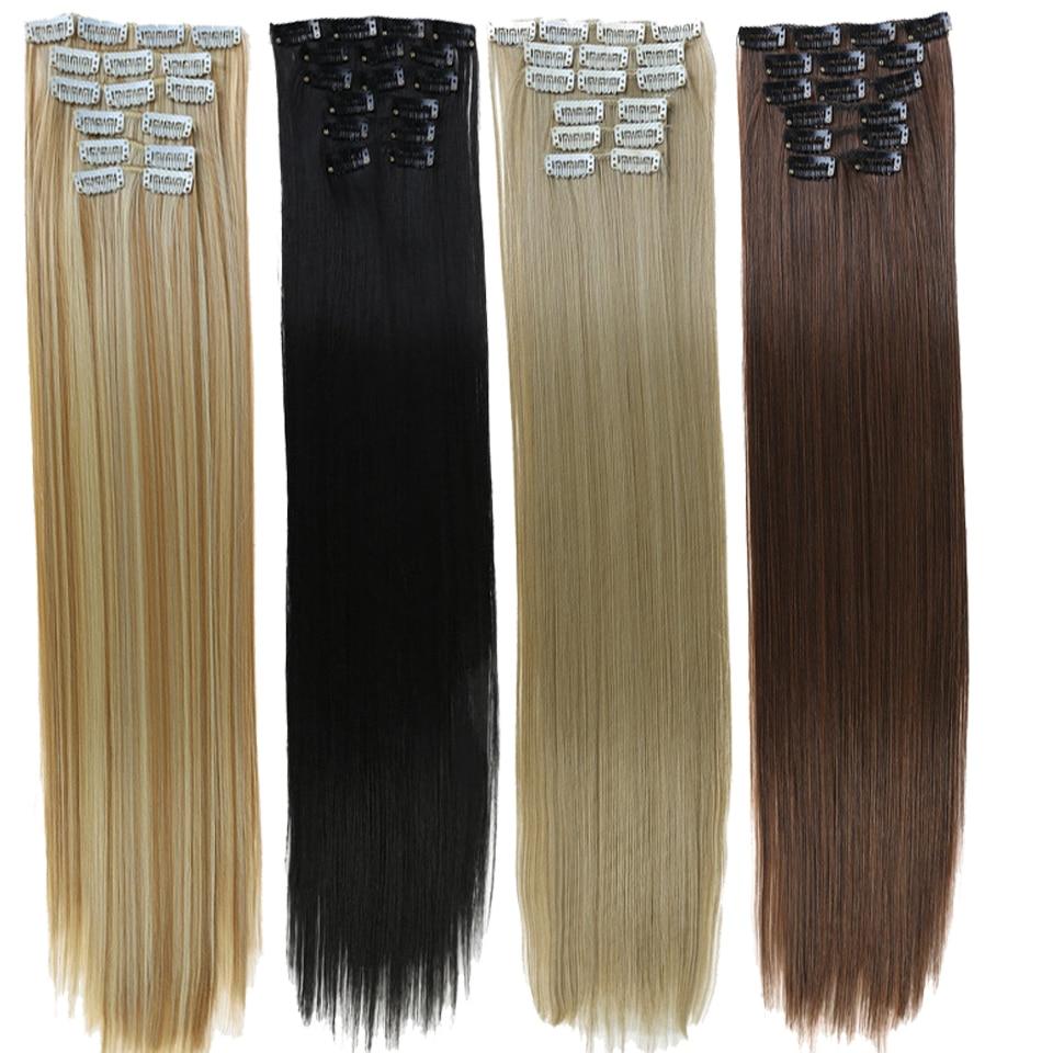 Накладные волосы DIFEI, длинные прямые синтетические волосы, блонд, черные, 16 зажимов, термостойкие накладные волосы, 24 дюйма