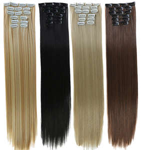 DIFEI 24Inchs 16 Clips in Hair Extensions Long Straight Hairstyle Synthetic Blonde Black Hairpieces Heat Resistant False Hair