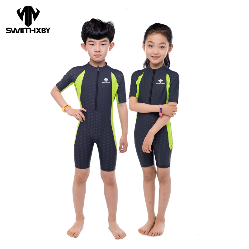 HXBY Competition Short Sleeve Girls Swimsuit Kids Swimwear Boys Swimming Suit For Women Bathing Suits One Piece Swimsuit Men