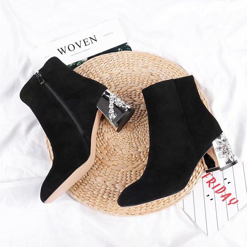 Qualité En Matte Femmes Cuir Designer Mode Bottes Martin Black Strass De black Haute Marque xw6qI4