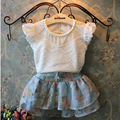 Летняя мода девушка белый шелк бутона с коротким рукавом Футболки + цветочные шорты детская одежда
