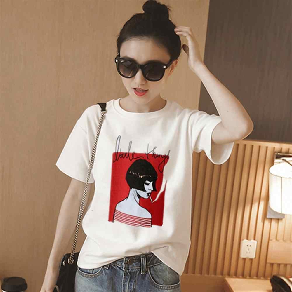 Moda 2019, estampado de moda, camiseta femenina, camisetas blancas de algodón para mujer, camisetas casuales de verano Harajuku, camiseta femenina, Top