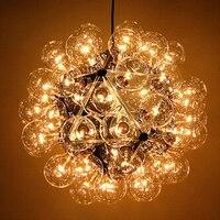 Подвесная лампа на проводе 40 головок одуванчик прозрачный подвесной стеклянный шар лампа пузырьковая молекулы DNA Сплит кулон освещение сте