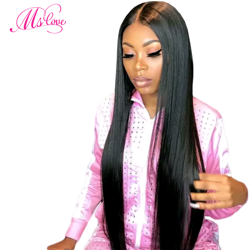 4x4 Lace Front Human Hair Wigs 130% Density Straight Brazilian Human Hair Wigs For Black Women Natural Color Non-Remy Ms Love (China)