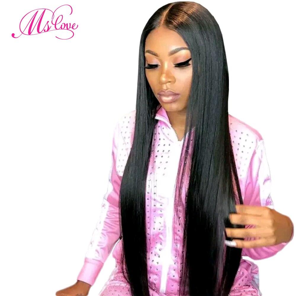 Perruques de cheveux humains avant de dentelle 4x4 130% densité perruques de cheveux humains brésiliens droites pour les femmes noires couleur naturelle non-remy Ms Love
