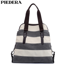 PHEDERA New Striped Women Shoulder Bags Multipurpose Fashion Female Handbags High Quality Patchwork Ladies Purse Bag 2019 Spring