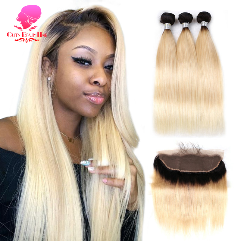 QUEEN BEAUTY Lace Frontal Closure with Bundles 1B 613 Blonde Ombre Color Remy Human Brazilian Hair