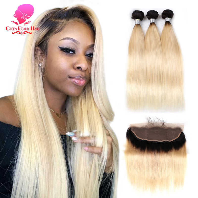 QUEEN BEAUTY Lace Frontal Closure with Bundle,1B 613 Blonde Ombre Color Remy Human Brazilian Hair Weave 3/4 Bundles with Closure