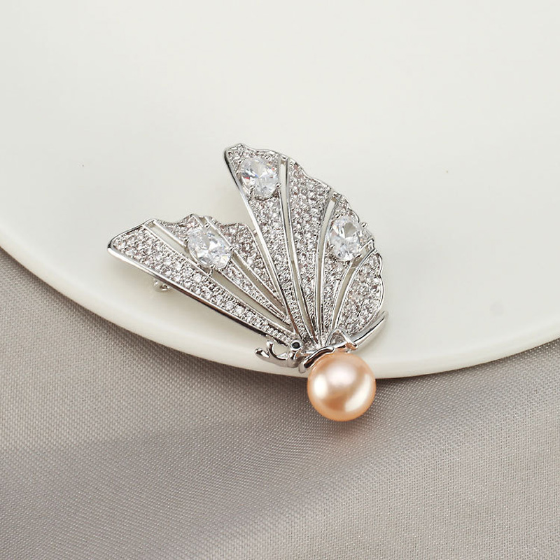 Luxury Stone Butterfly Silver Brooches Women Natural Pearl Brooch Lapel Pins for Wedding Brooch Crystal Jewelry Accessories