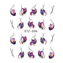 1 Sheets Beautiful Butterfly Flower Water Water Sticker for Tips Nail Art Manicure Stencils Temporary Tattoos CHSTZ508