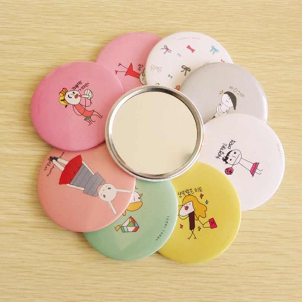 Portable Paper+Metal+Mirror Cute Cartoon Hand Pocket Cosmetic Mirror Round Lady Girl Mini Outdoor Party Makeup Mirror Decor