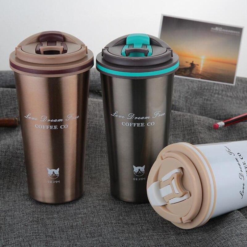 Keelorn 500 ml Thermos Tazza di Caffè Tazza con Coperchio Thermocup Acqua di Tenuta In Acciaio Inox boccette di vuoto Termo tazza per Auto bottiglie