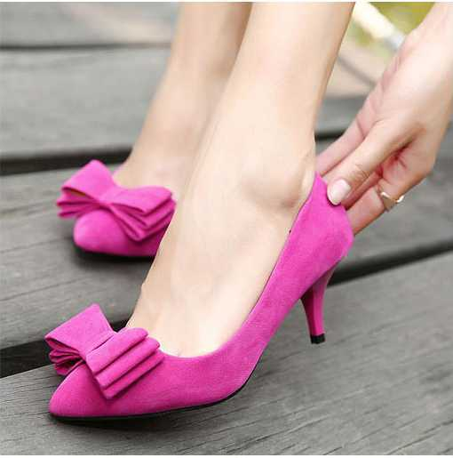 Faux Suede Sexy pointed toe bow high heels Women's Dress Evening ...
