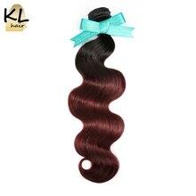 KL Hair Brazilian Body Wave Ombre Hair Bundles T1B/99J Color Hair 100% Human Hair Weaving No Remy Hair Extensions Free Shipping