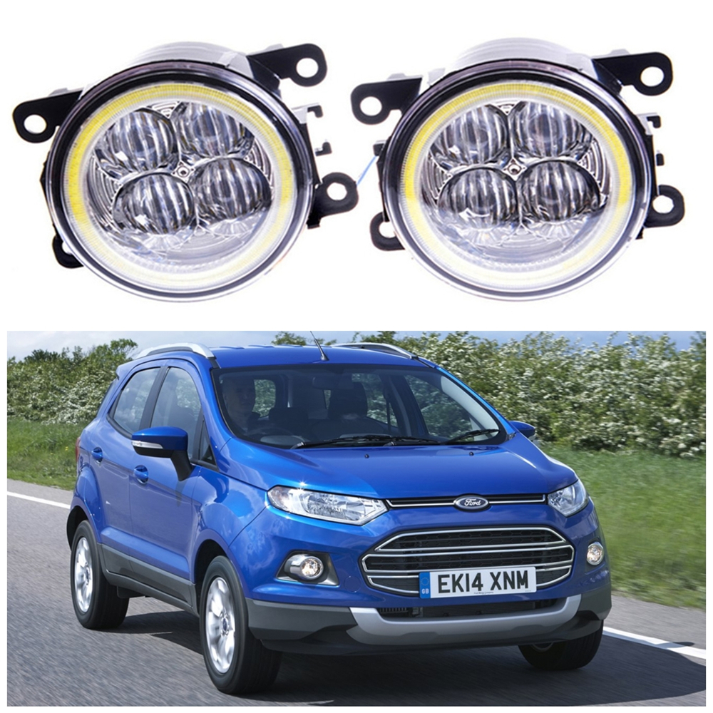 For ford ecosport 2013 2014 angel eye led fog lamp 9cm daytime running light spotlight