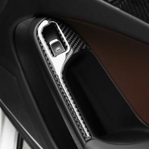 Image 2 - For Audi A4 B8 2009 2010 2011 2012 2013 2014 2015 2016 Carbon Fiber Door Armrest Panel Window Switch Button Cover Sticker Trim