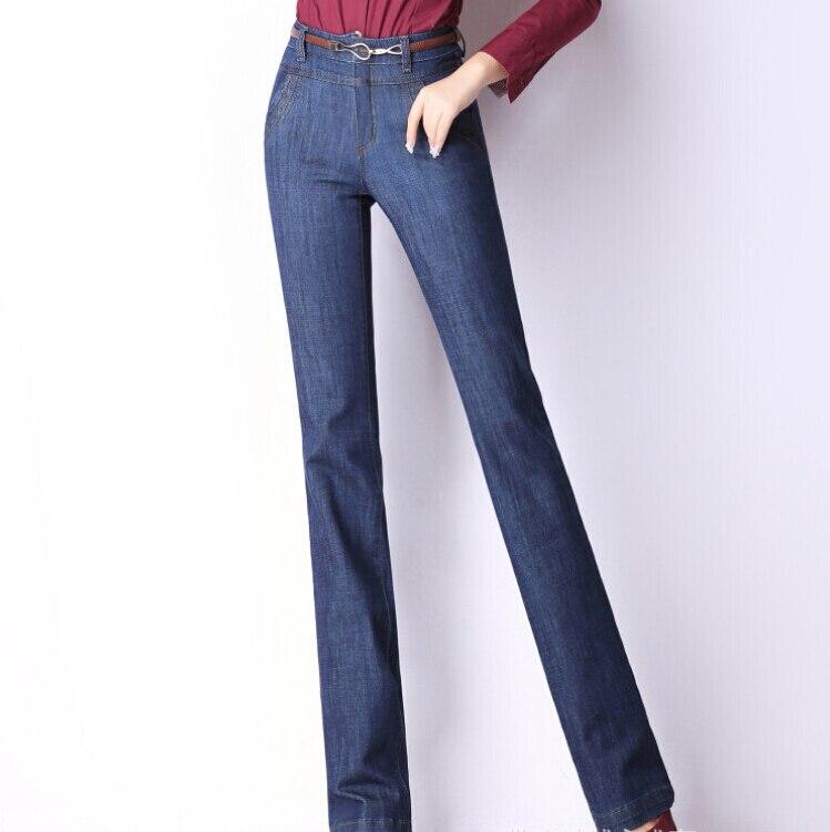 New Fashion Slim Large Size Denim Pants Female Horn Jeans Wide Leg Pants Women Jeans casual