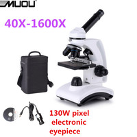Free Shipping MUOU Monocular Biological Microscope 40X 1600X Full Metal High Quality HD Student 130W Pixel