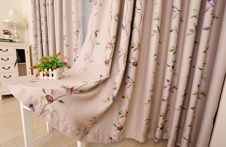 New arrival <font><b>colorfull</b></font> birds cloth curtains double side cloth curtain <font><b>decorative</b></font> voile curtains for bedroom and living room