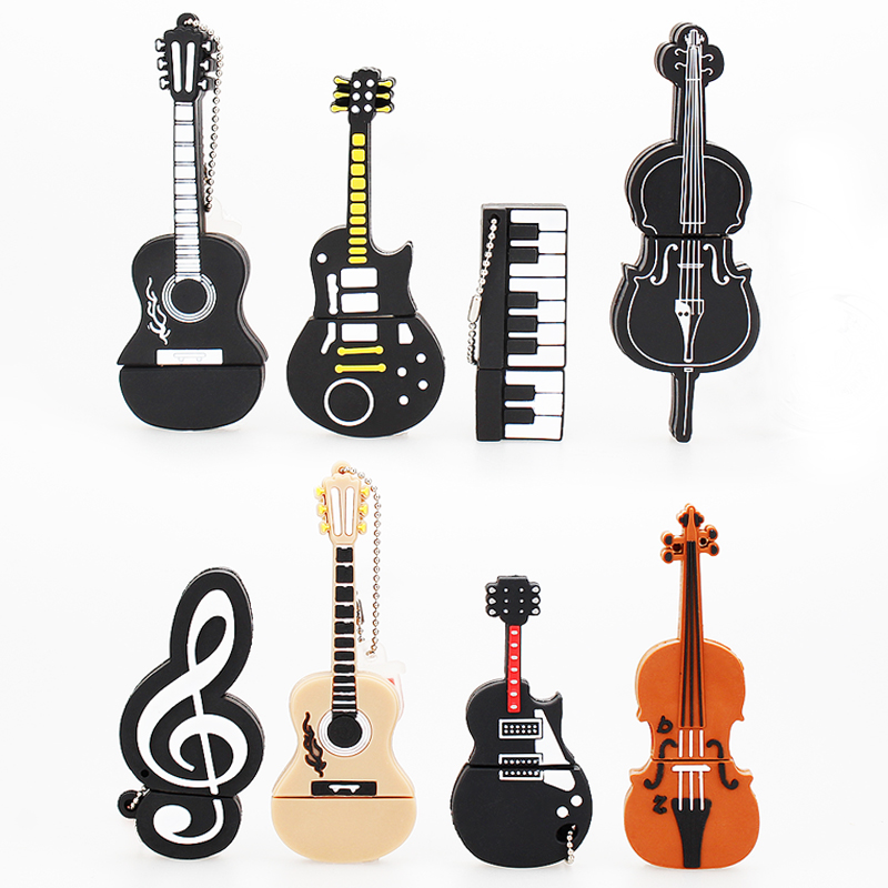 Music Pendrive 128gb Pen Drive 64gb Creative Cartoon Guitar Violin Usb Flash Drive Gift USB 2.0 Usb Memory Stick Free Shipping