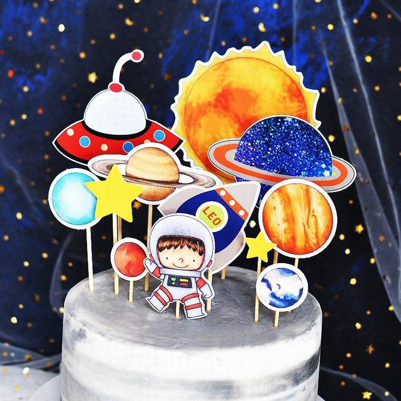 Enjoyable Astronaut Rocket Moon Happy Birthday Cake Topper Dessert Party Funny Birthday Cards Online Sheoxdamsfinfo