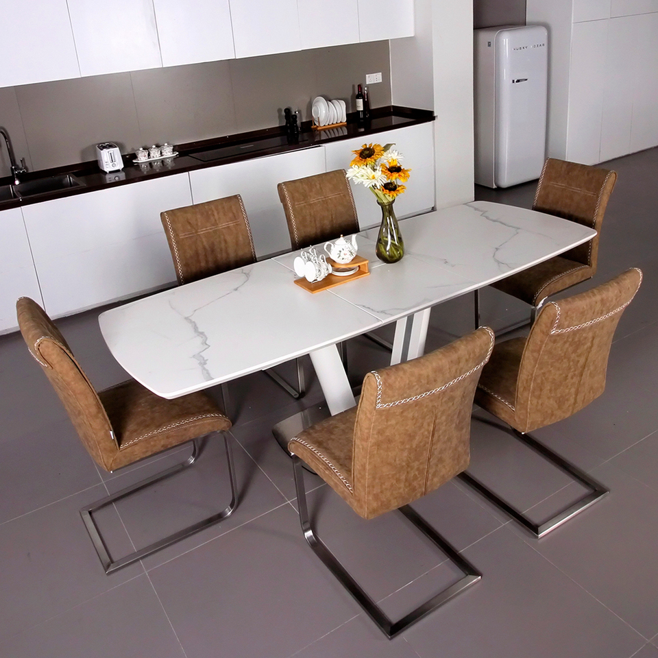 - Fancy Fix Glass Folding Dining Table For Kitchen Half Auto