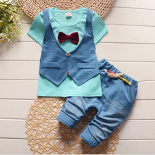 Summer new children boy short-sleeved T shirt +pant two-piece sets kids Cotton casual outfit