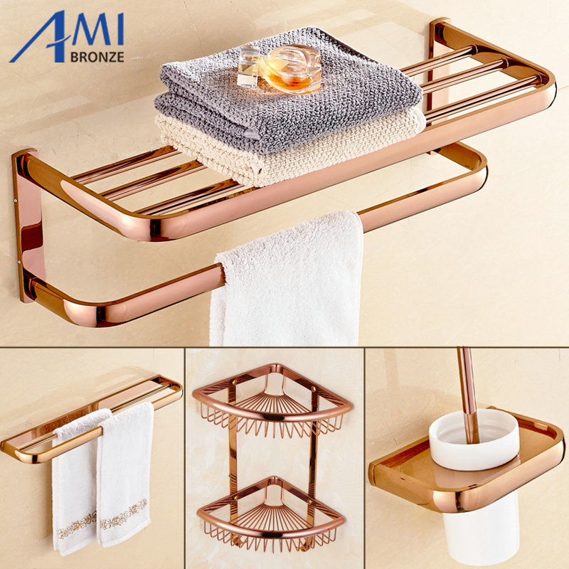 Exceptional FZ Series Rose Golden Polished Thicker Bathroom Accessories Bath Hardware  Set Towel Shelf Towel Bar Paper
