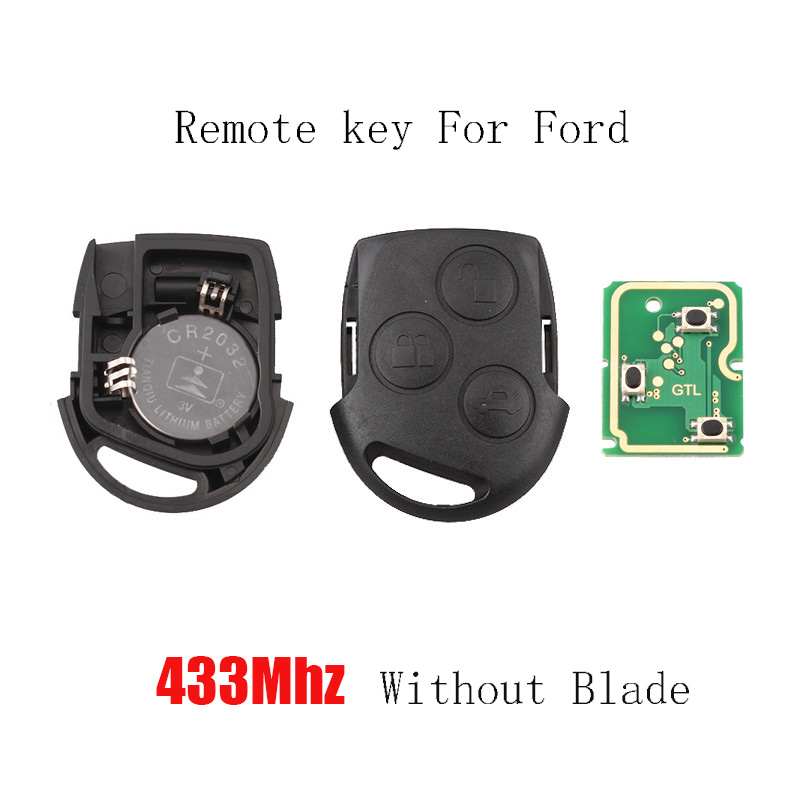 3 Buttons Remote Key Fob 433MHz for Ford Focus Fiesta Mondeo Galaxy C-Max S-Max Focus Car Auto Replacement Parts No Blade smart remote key fob keyless 434 mhz 4d63 80bit remote key with emergency key fit for ford focus c max mondeo kuga fiesta b max