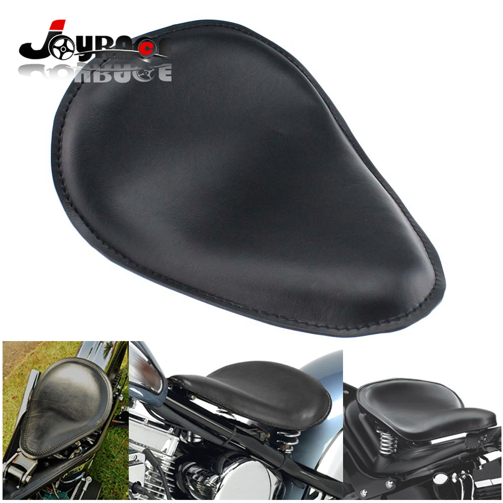 Black Synthetic Leather Solo Slim Seat For Harley Sportster Bobber Chopper and Custom Application