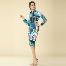 High Quality Two-piece 2019 Women Spring Summer New Designer Ink Painting Classical Amazing Print Shirt Bag Hip Skirt Casual Set