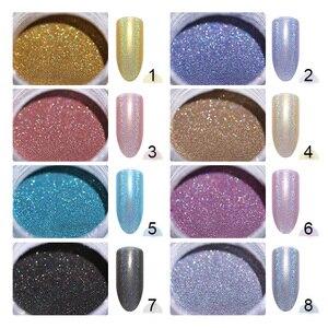 Image 3 - 0.5g 1g  Laser Powder Rainbow Nail Art Chameleon Glitter Chrome Powder Pigment  Nail Gel Polish Glitter Dust