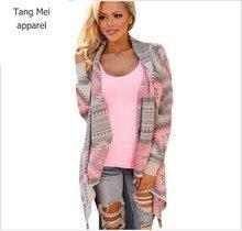 Женщины основные пальто 2016 зима Тонкий мода нерегулярные Куртки с длинным рукавом кардиган сексуальная Пальто осень Печати трикотажные куртка женщина(China (Mainland))