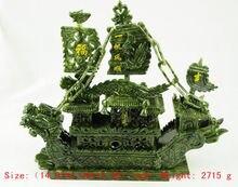 100% natural hand-carved southern Taiwan jade dragon boat