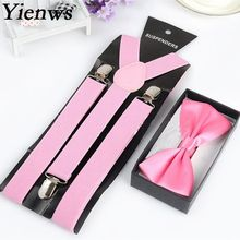 Yienws Fashion Bow Tie Suspenders For Women Red Pink Braces Suspensorio Mujer Wholesale Jartiyer Bretelles Unisex YiA001